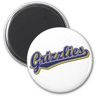 Grizzlies in Blue and Yellow 6 Cm Round Magnet
