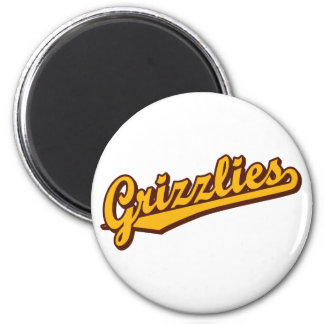Grizzlies in Orange and Brown 6 Cm Round Magnet