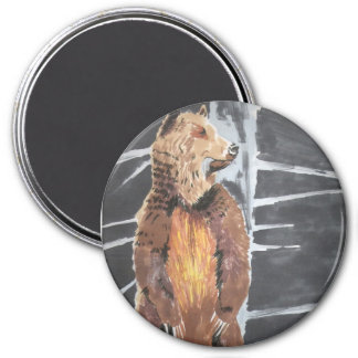 Grizzly Bear 7.5 Cm Round Magnet