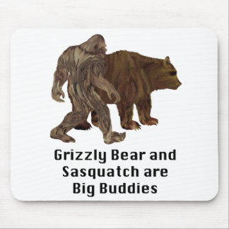 Grizzly Bear and Sasquatch are Big Buddies Gifts Mousepads