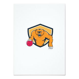 Grizzly Bear Angry Dribbling Basketball Shield Car 11 Cm X 16 Cm Invitation Card