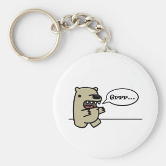 Grizzly Bear Basic Round Button Key Ring