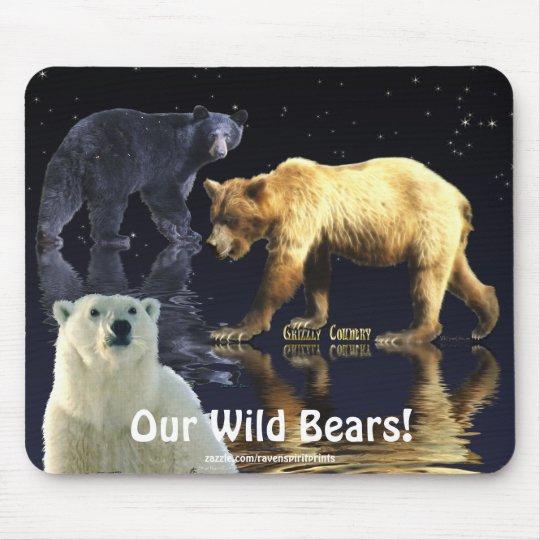 GRIZZLY BEAR, BLACK BEAR & POLAR BEAR MOUSE MAT