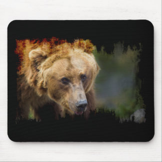 Grizzly Bear Black Grunge Border Mouse Mat