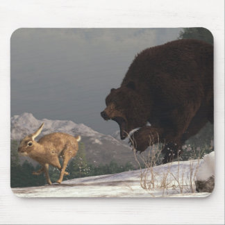 Grizzly Bear Chasing Rabbit Mouse Pad