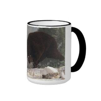 Grizzly Bear Chasing Rabbit Mugs