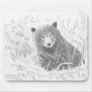 Grizzly Bear Cub Drawing Mouse Pads