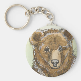 Grizzly Bear Cub Watching Basic Round Button Key Ring