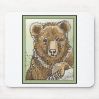 Grizzly Bear Cub Watching Mouse Pad