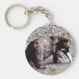 Grizzly Bear Eating a Salmon Basic Round Button Key Ring