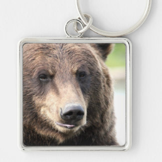 Grizzly Bear Face Silver-Colored Square Key Ring