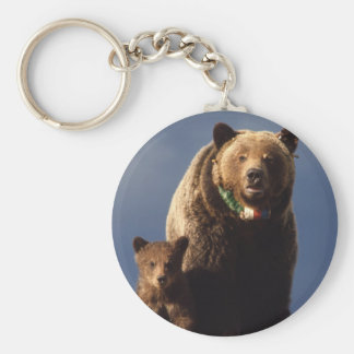 Grizzly Bear family Basic Round Button Key Ring