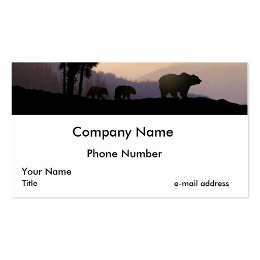Grizzly Bear Family Pack Of Standard Business Cards