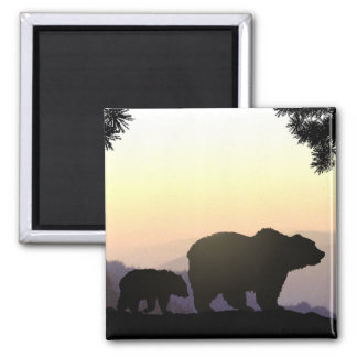 Grizzly Bear family Square Magnet