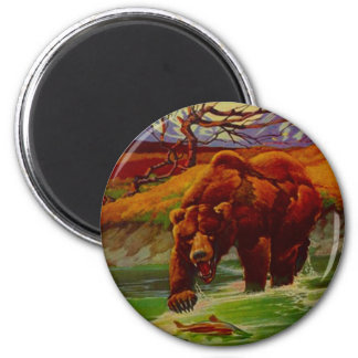 Grizzly Bear Fishing Wildlife Bears Gifts Gift 6 Cm Round Magnet
