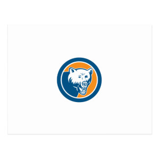 Grizzly Bear Head Circle Retro Post Card