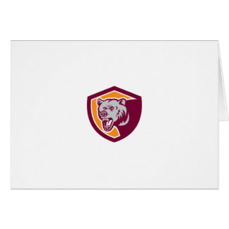 Grizzly Bear Head Shield Retro Greeting Card
