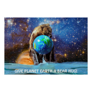 Grizzly Bear Holding Planet Earth Art Poster