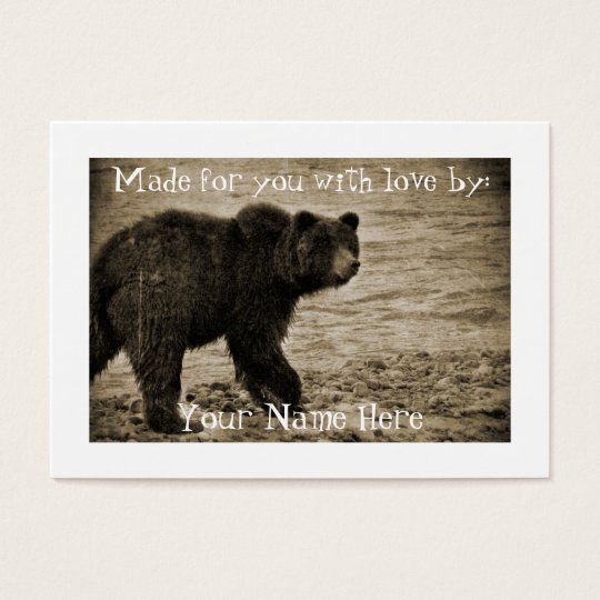 Grizzly Bear in Antique Business Card