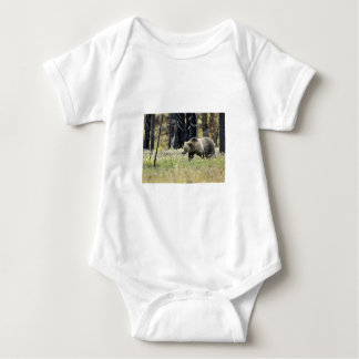 Grizzly Bear in Field at Yellowstone National Park Baby Bodysuit