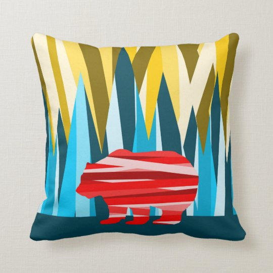 Grizzly Bear In The Mountains Colourful Pattern Cushion