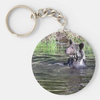 Grizzly Bear in the Water Keychain