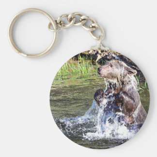 Grizzly Bear in the Water Keychains