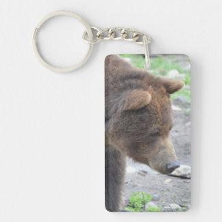 Grizzly Bear Double-Sided Rectangular Acrylic Keychain