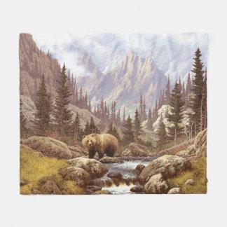 Grizzly Bear Landscape Fleece Blanket