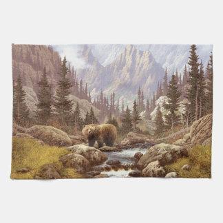 Grizzly Bear Landscape Kitchen Towel