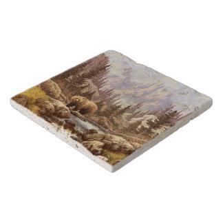 Grizzly Bear Landscape Stone Trivets
