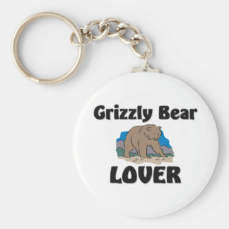 Grizzly Bear Lover Basic Round Button Key Ring