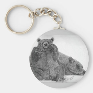 grizzly bear mom sleeping basic round button key ring