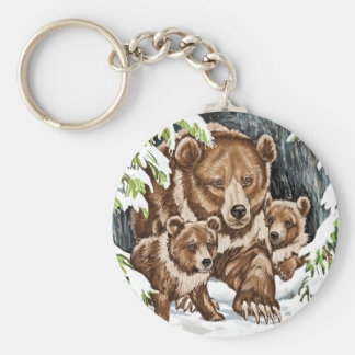 Grizzly Bear Mother and Cubs in Winter Basic Round Button Key Ring