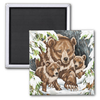 Grizzly Bear Mother and Cubs in Winter Square Magnet