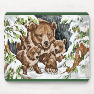 Grizzly Bear Mother and Cubs in Winter Mouse Pad