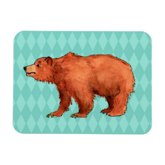 Grizzly bear on teal diamond pattern magnet