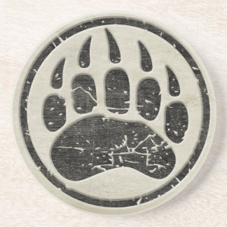 Grizzly Bear Paw Print Drink Coaster