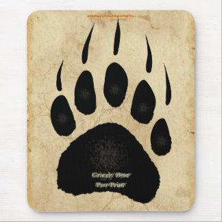Grizzly Bear Paw Print Wildlife Supporter Mousepad Mousepads