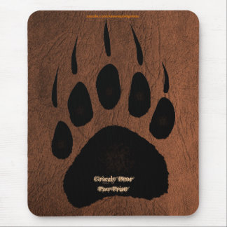 Grizzly Bear Pawprint on Faux Leather Mousepad