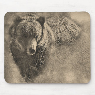 Grizzly Bear Pencil Illustration Mouse Pad