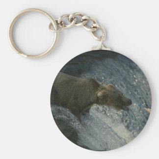 Grizzly Bear  Picture-Fishing for Salmon Basic Round Button Key Ring