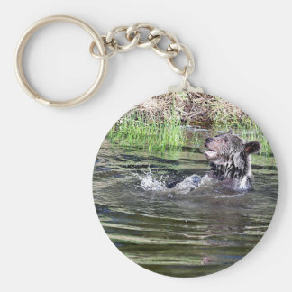 Grizzly Bear playing in the water Key Chain