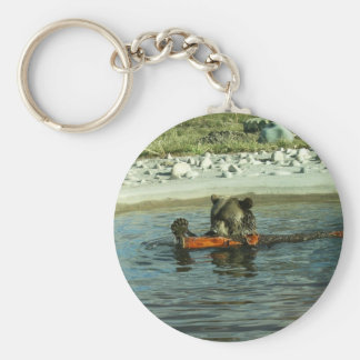 Grizzly Bear Playing with Log Basic Round Button Key Ring