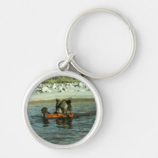 Grizzly Bear Playing with Log Silver-Colored Round Key Ring