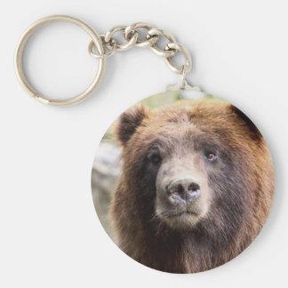 Grizzly Bear Portrait Close Up Key Chains