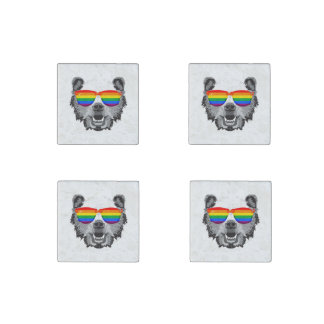 Grizzly Bear Pride Stone Magnet