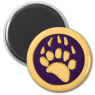 GRIZZLY BEAR PRINT 6 CM ROUND MAGNET