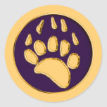 GRIZZLY BEAR PRINT CLASSIC ROUND STICKER