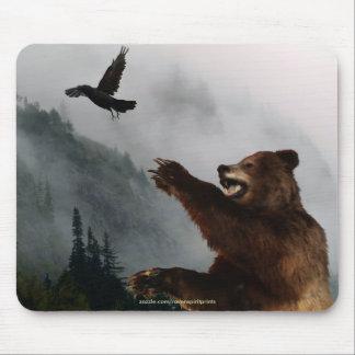 Grizzly Bear & Raven Fantasy Wildlife Mousepad